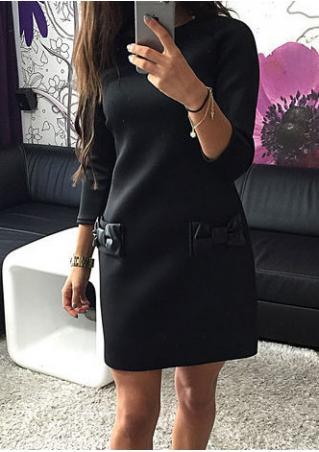 Bowknot Pocket Casual Mini Dress Bowknot