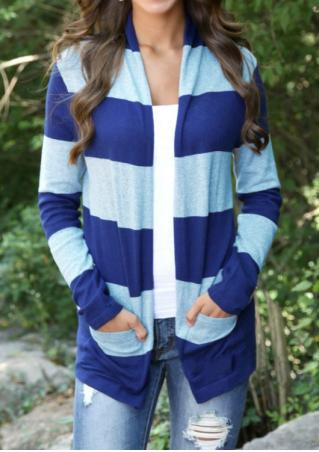 Striped Splicing Pocket Casual Cardigan