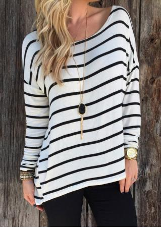 Striped Loose Casual T-Shirt Without Necklace