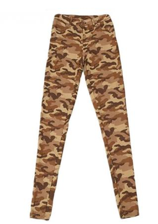 Camouflage Pattern Skinny Pencil Pants