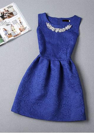 Solid Jacquard Mini Dress With Necklace