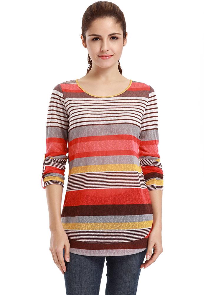 Bluză de damă, fashion, asimetrică, cu dungi multicolore și mâneci lungi
