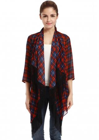 Plaid Tassel Irregular Casual Cardigan
