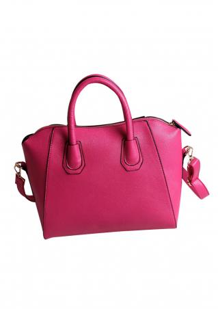Solid Zipper PU Leather Shoulder Bag