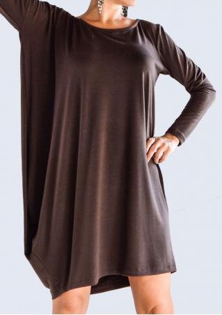 Solid Batwing Sleeve Irregular Casual Dress