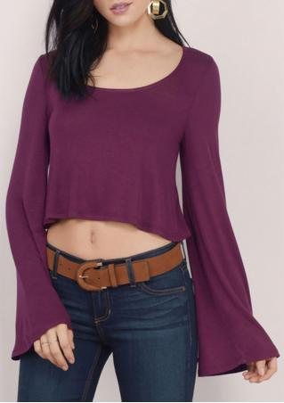 Solid Casual Flare Sleeve Crop Top