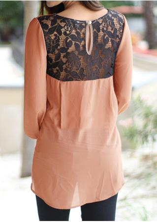 Solid Back Lace Splicing Irregular Casual Blouse Solid