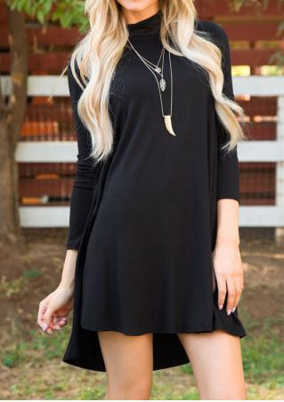 Solid Turtleneck Casual Dress Without Necklace