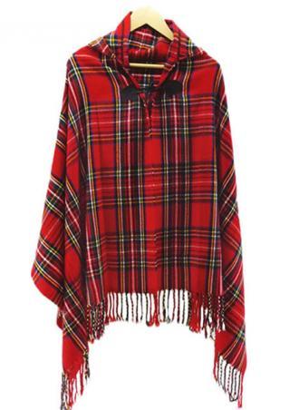 Plaid Tassel Hooded Casual Cloak Coat
