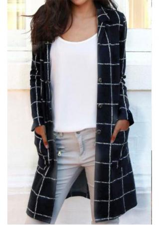 Plaid Button Casual Long Sleeve Coat