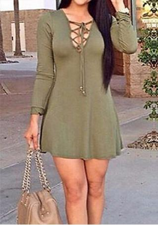 Solid Lace Up Casual Mini Dress