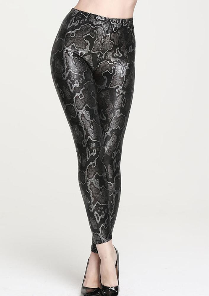 Pantaloni leggings de damă, fashion, din piele Pu, cu imprimeu și talie înaltă