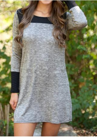 Splicing Long Sleeve Casual Mini Dress