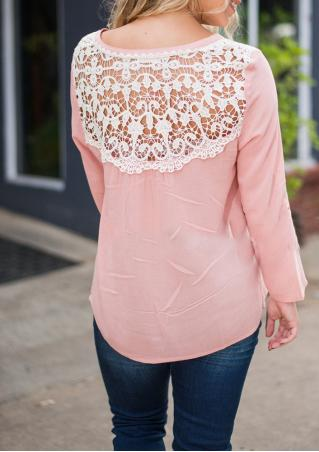 Lace Splicing Button Hollow Out Casual Blouse