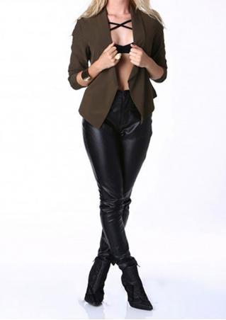 Solid Trun-Down Collar Slim Jacket