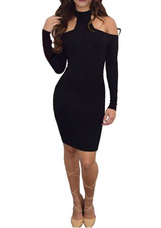 Solid Halter Off Shoulder Bodycon Mini Dress