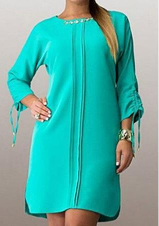 Solid Plus Size Split Casual Dress