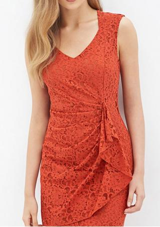 Solid Lace Ruffled Bodycon Mini Dress
