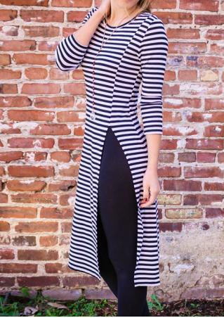 Striped Split Long Sleeve Casual Dress