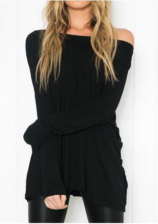 Solid Batwing Loose Casual Blouse Solid