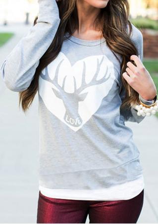 Printed Deer Heart Letter Casual Sweatshirt