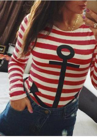 Striped Anchor Casual T-Shirt