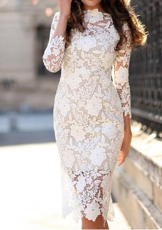 Solid Lace Floral Hollow Out Bodycon Dress