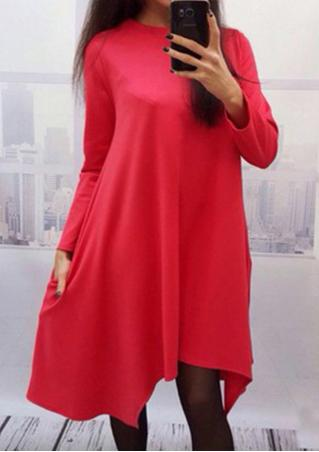 Solid Irregular Loose Casual Dress