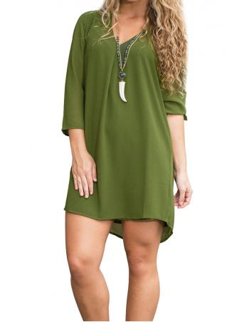 Solid V-Neck Irregular Casual Mini Dress