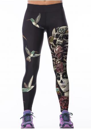 Printed Skull Queen Bird Bodycon Yoga Pants