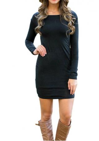 Solid Casual Bodycon Mini Dress