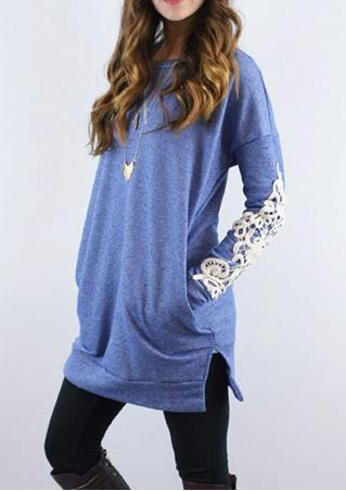 Solid Lace Splicing Split Pocket Casual Blouse Solid