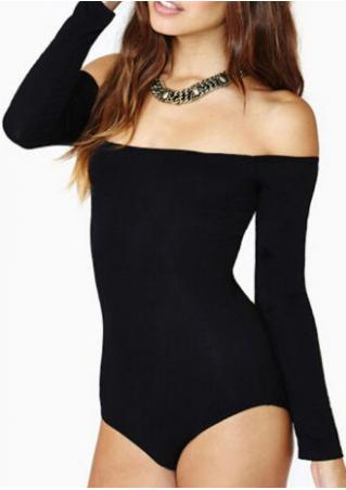 Solid Slash Neck Skinny Romper
