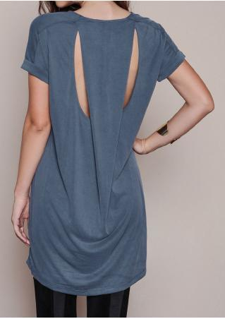 Solid Hole Backless Loose Casual Dress