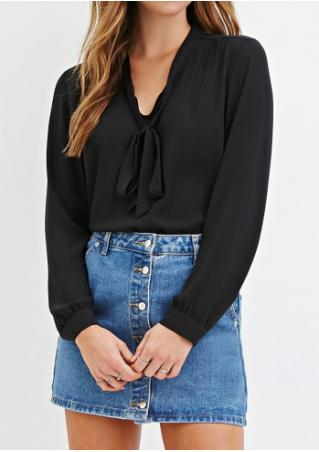 Solid Lace Up Pleated Irregular Shirt