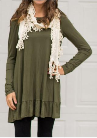Solid Ruffled Casual Mini Dress