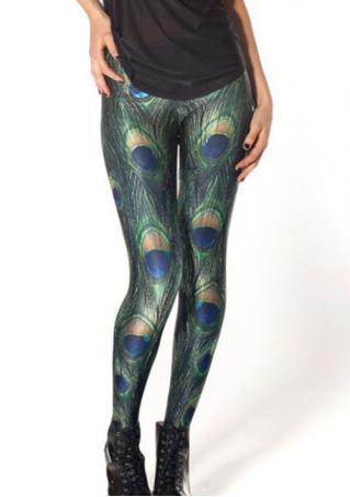 Peacock Feather Printed Slim Fit Pants