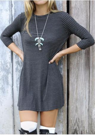 Striped Knitted Casual Mini Dress