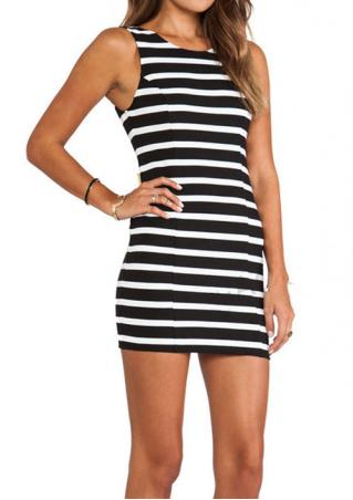 Striped Backless Bowknot Bodycon Mini Dress