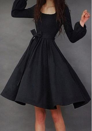 Solid Lantern Sleeve Mini Swing Dress With Belt