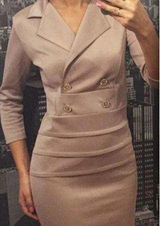 Solid Button Pleated Bodycon Mini Dress