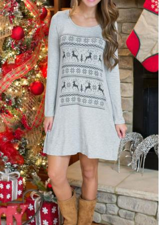 Sika Deer Printed Casual Mini Dress