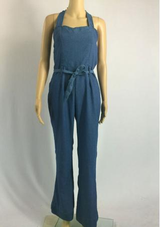 Solid Denim Lace Up Sexy Jumpsuit With Belt Solid