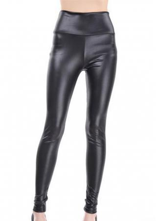 Solid Faux Leather Slim Fit Pencil Pants Solid