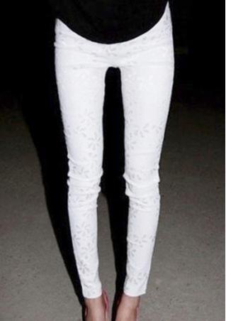 Solid Lace Zipper Skinny Pencil Pants