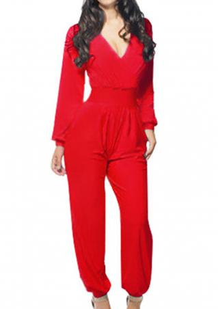 Solid Pleated Deep V-Neck Jumpsuit