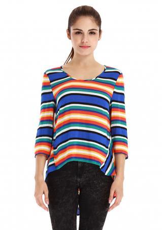 Multicolor Striped Irregular Fashion Blouse