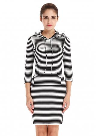 Striped Pocket String Hooded Bodycon Dress