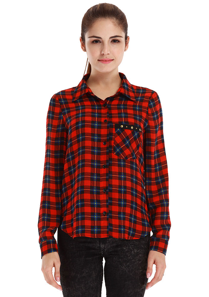Plaid Casual Long Sleeve Shirt Fairyseason