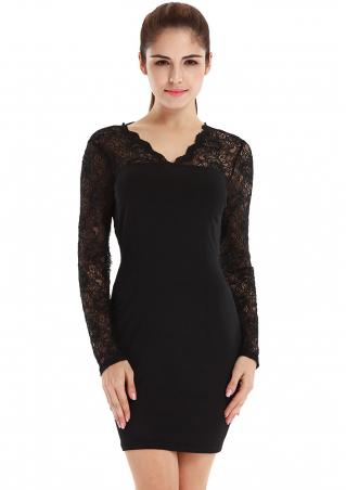 Solid Lace Long Sleeve Bodycon Dress
